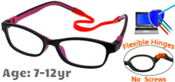 Kids Glasses C6008 Black/Purple: Flexible Hinges with No Screws