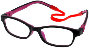 (1) Kids Prescription Glasses with Fully Flexible Hinges C6008 Black/Purple