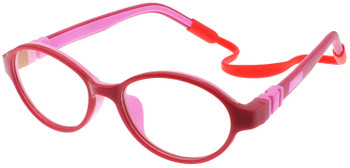 (1) Kids Prescription Glasses with flexible hinges C6003 Red Pink