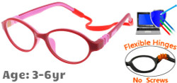 Kids Glasses C6003 Red Pink: Flexible Hinges No Screws