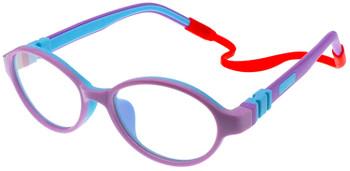 (1) Kids Prescription Glasses with flexible hinges C6003 - Purple Blue