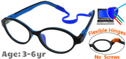 Kids Glasses C6003 Black/Blue: Flexible Hinges No Screws