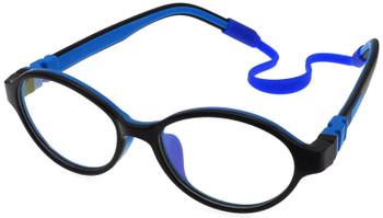 (1) Kids Prescription Glasses with flexible hinges C6003 - Black Blue