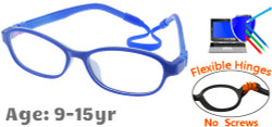 Kids Glasses C6005 Blue: Flexible Hinges No Screws