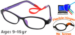 Kids Glasses C6005 Black Purple: Flexible Hinges No Screws