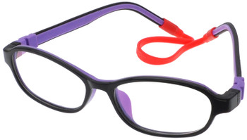 Kids Glasses C6005 Black Purple  together with Strap and Ear Hooks