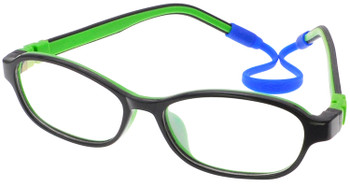 Kids Glasses C6005 Black Green  together with Strap and Ear Hooks