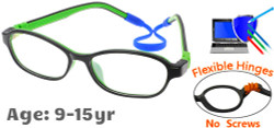 Kids Glasses C6005 Black Green: Flexible Hinges No Screws