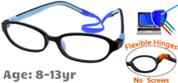 Kids Glasses C6001 Black Blue: Flexible Hinges No Screws