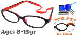 Kids Glasses C6001 Black Red: Flexible Hinges No Screws