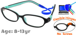 Kids Glasses C6001 Black Aqua: Flexible Hinges No Screws