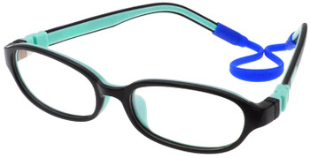 (1) Kids Glasses C6001 Black Aqua  together with Strap and Ear Hooks