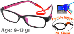 Kids Glasses C6002 Black Purple: Flexible Hinges No Screws