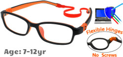 Kids Glasses G7007 Black/Orange: Flexible Hinges with No Metal Screws