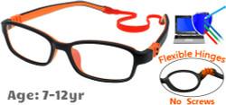 Kids Glasses G7007 Black/Orange: Flexible Hinges with No Metal Screws