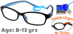 Kids Glasses G7008 Black/Blue: Fully Bendable Hinges with No Metal Screws