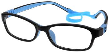 (1) Kids Prescription Glasses with Fully Flexible Hinges G7008 Black/Blue