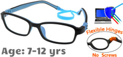 Kids Glasses G7007 Black Blue: Flexible Hinges with No Metal Screws