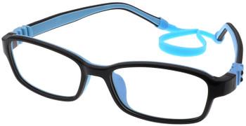 (1) Kids Prescription Glasses with Fully Flexible Hinges G7007 Black Blue