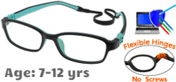Kids Glasses G7007 Black Aqua: Flexible Hinges with No Metal Screws