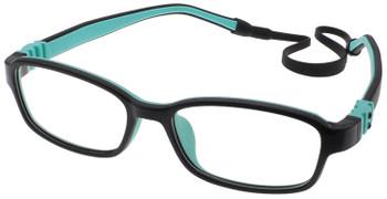 (1) Kids Prescription Glasses with Fully Flexible Hinges G7007 Black Aqua