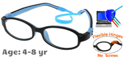 Kids Glasses G7002 Black Blue: Flexible Hinges with No Screws