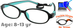 Kids Glasses G213 Black Aqua: Flexible Hinges No Screws