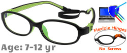 Kids Glasses G7006C13 Black/Green: Fully Flexible Hinges with No Screws