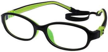 (1) Kids Prescription Glasses with Flexible Hinges G7006C13 Black/Green