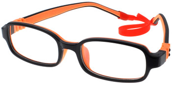 (1) Kids Prescription Glasses with Flexible Hinges G210 Black Orange