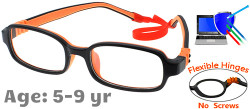 Kids Glasses G210 Black Orange: Flexible Hinges with No Screws