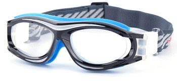 (1) Prescription Sports Goggles BL028 Black Blue 130mm Frame Width