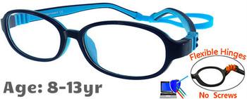 Kids Glasses G213 Dark Blue Blue: Flexible Hinges No Screws