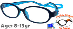 Kids Glasses G213 Dark Blue Blue: Flexible Hinges No Screws