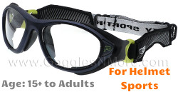 Rec Specs F8 Helmet Spex XL Prescription Sports Goggles in Matte Navy Green