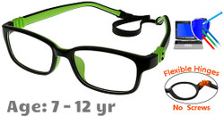 Kids Glasses G7009C13 Black/Green: Fully Flexible Hinges with No Screws