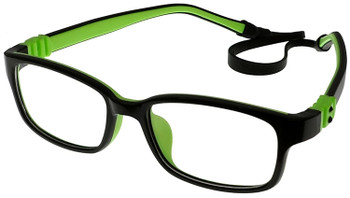(1) Kids Prescription Glasses with Flexible Hinges G7009C13 Black/Green