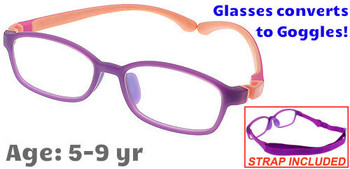 Kids Glasses G9005C3 Purple: Flexible hinges with convertible goggles strap