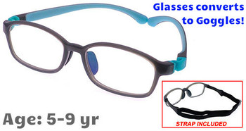 Kids Glasses G9005C4 Grey: Flexible hinges with convertible goggles strap