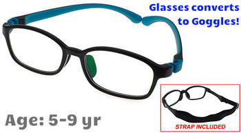 Kids Glasses G9005C5 Black: Flexible hinges with convertible goggles strap