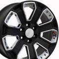 "20"" GMC Denali Style Wheels Yukon Sierra Cadillac Fits Chevrolet Escalade Chevy Tahoe Silverado Satin Black with Chrome Inserts Set of 4 20x8.5"" Rims Hollander# 5665"