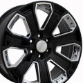 "20"" GMC Denali Style Wheels Yukon Sierra Cadillac Fits Chevrolet Escalade Chevy Tahoe Silverado - Gloss Black with Chrome Inserts Set of 4 20x8.5"" Rims Hollander# 5665"