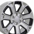 "20"" GMC Denali Style Wheels Yukon Sierra Cadillac Fits Chevrolet Escalade Chevy Tahoe Silverado Chrome with Black Inserts Set of 4 20x8.5"" Rims Hollander# 5665"