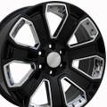 "22"" GMC 2015 Denali Wheels Yukon Sierra Cadillac Fits Chevrolet Escalade Chevy GMC Tahoe Silverado Gloss Black with Chrome Inserts 22x9 Set 4 Rims Hollander# 5665"