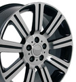 "22"" Fits Land or Range Rover  Stormer Wheel Machined Black Set of 4 22x10"" Rims Hollander 72200"
