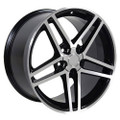 "17"" Fits Camaro Corvette C6 Z06 Wheel Black Machined Face 17x9.5"" Rim OE Spec"