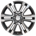 "22"" GMC Denali Chevy 1500 Wheels Machined Silver Face with Dark Gray Pockets Set of 4 22x9"" Rims"