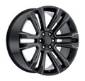 "22"" GMC Denali Chevy 1500 Wheels Gloss Black with Milled Spokes Set of 4 22x9"" Rims"