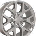 "20"" Fits Chevy 1500 GMC Sierra Wheels Silverado Polished Set of 4 20x9"" Rims Hollander 5656"