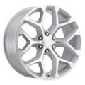"24"" 2015 CK156 CK 156 Chevy Silverado GMC Sierra 1500 Cadillac Silver Machined  Wheels Set of 4 24x10"" Rims"